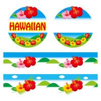 イラスト Hibiscus emblem and banner(5438515)