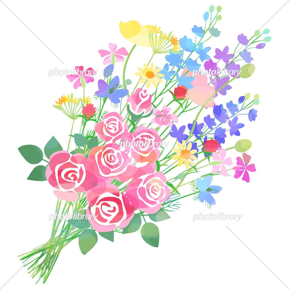 バラと草花の花束 イラスト素材 5468666 フォトライブラリー