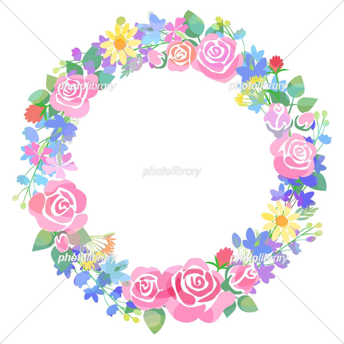 バラと草花のリース イラスト素材 5468673 フォトライブラリー