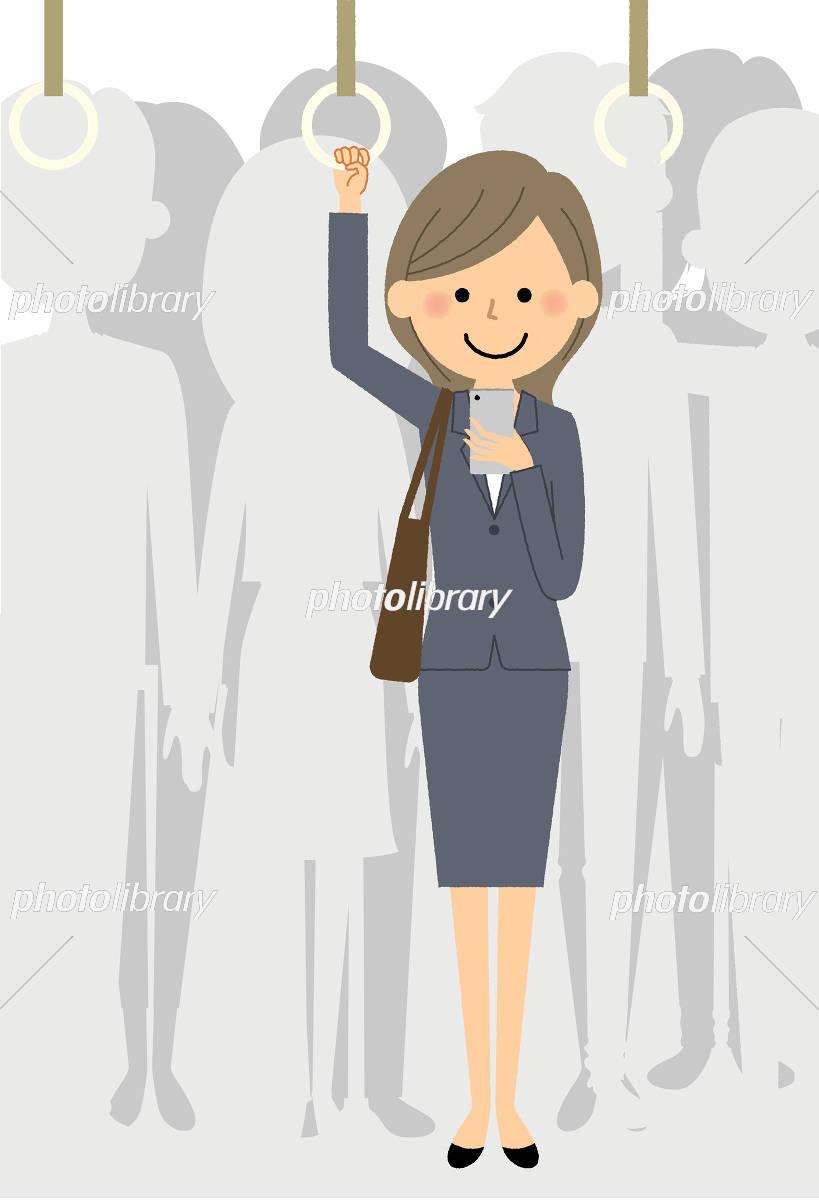スーツの女性 通勤電車 イラスト素材 [ 5468741 ] - フォトライブラリー