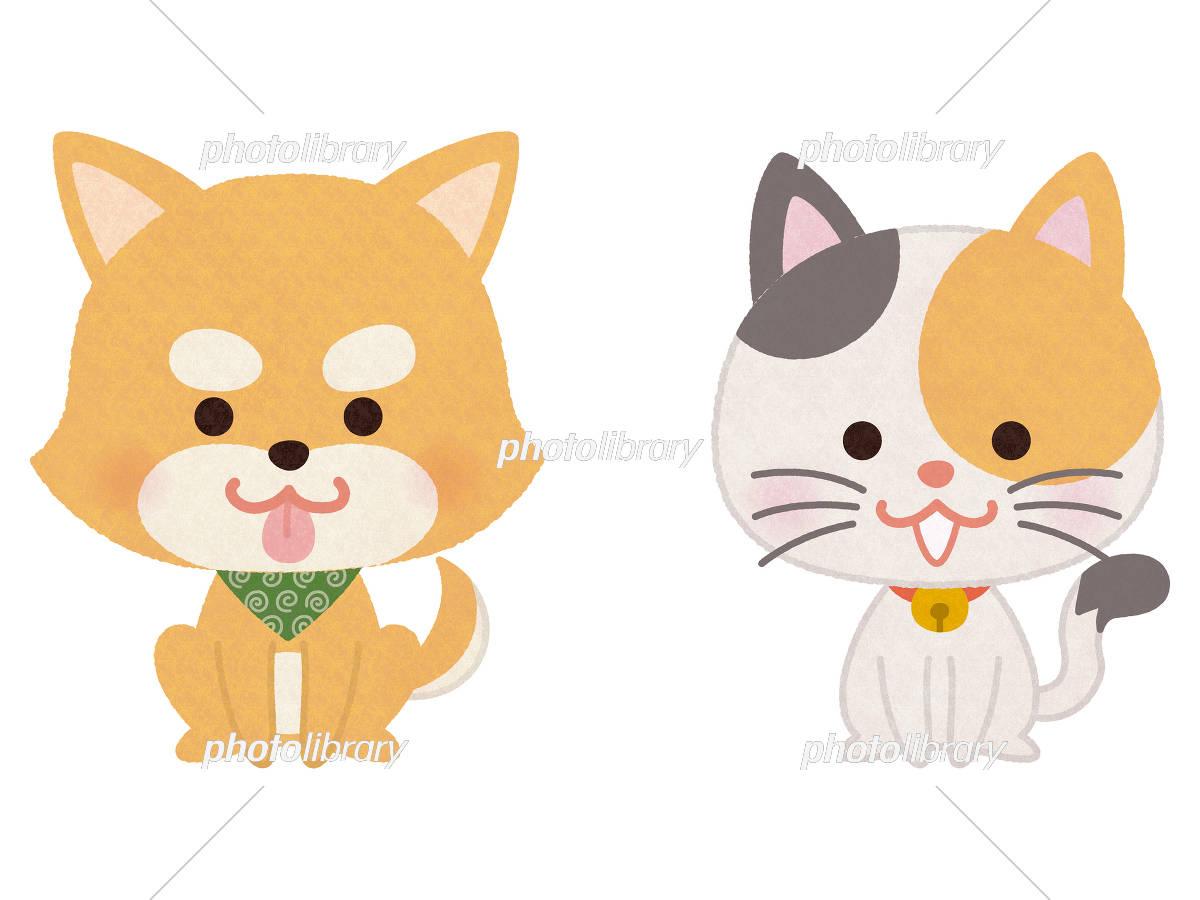 おすわりするペットの犬と猫 イラスト素材 [ 5468980 ] - フォトライブ