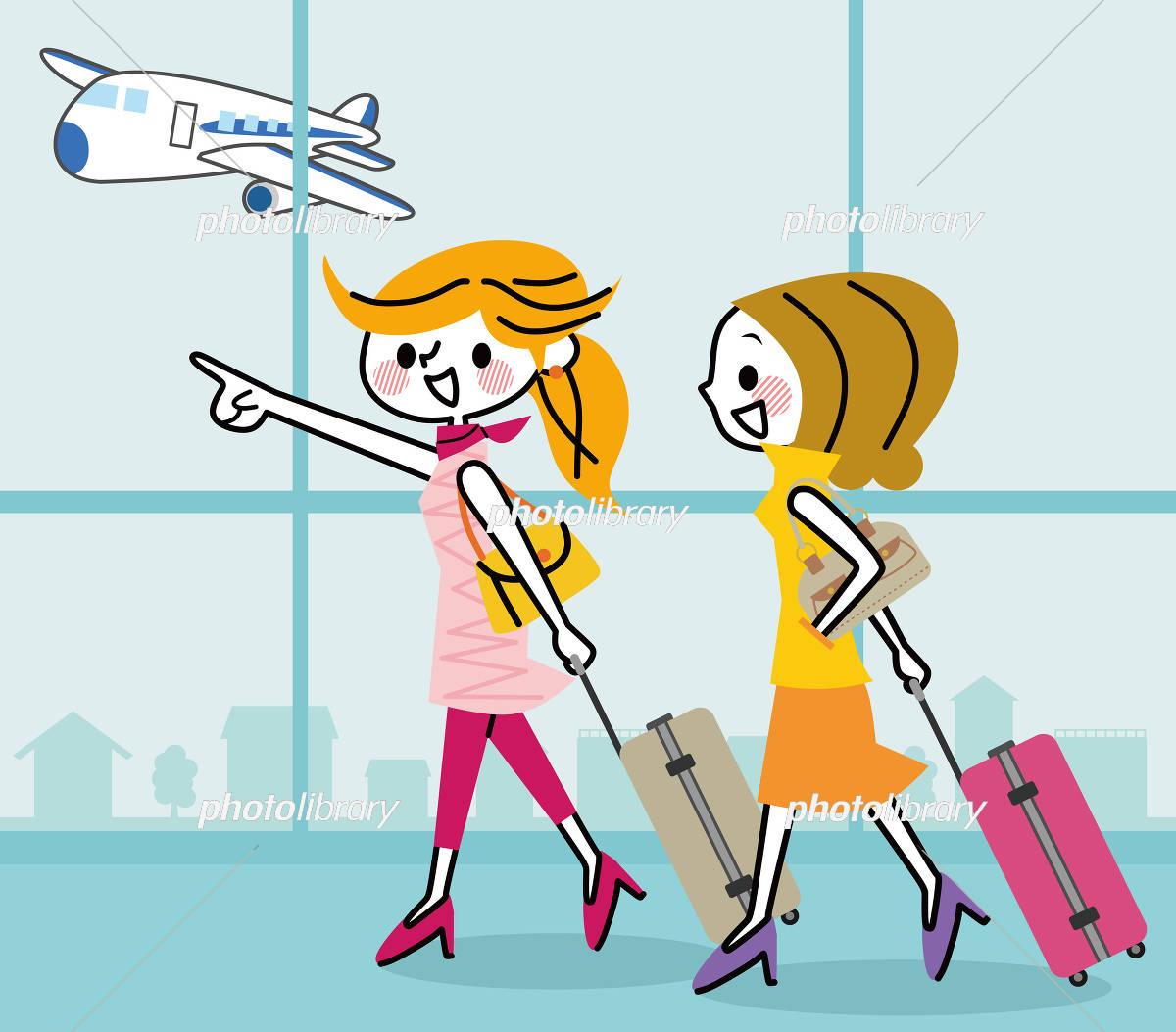 旅行 女性 空港 イラスト素材 [ 5473847 ] - フォトライブラリー