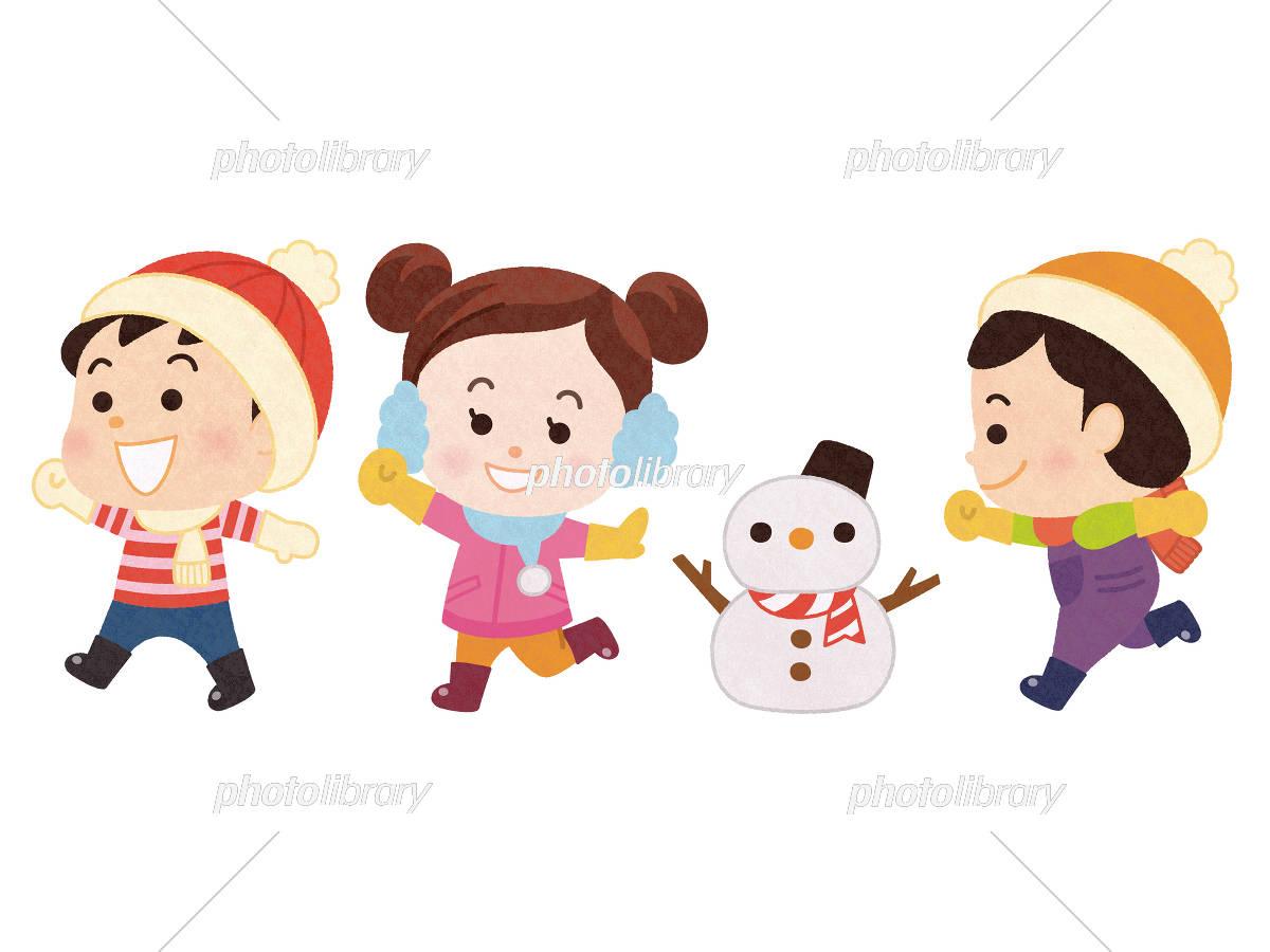 冬服で走り回る子供と雪だるま イラスト素材 5474700 フォトライブ