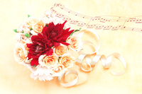写真 Composition of Daliya and rose bouquet and score(5470318)