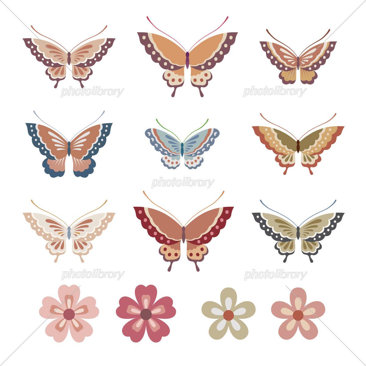 和風の蝶と花イラスト イラスト素材 [ 5502792 ] - フォトライブラリー