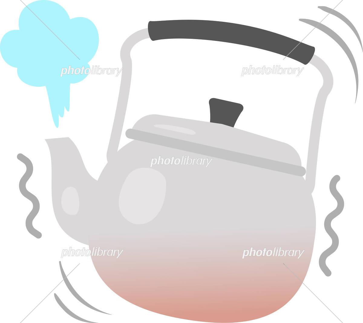 湯が噴き出しているヤカンのイラスト
