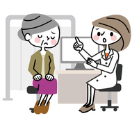 Medical examination Senior women troubled face Consultation