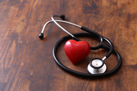 Stethoscope and red heart health