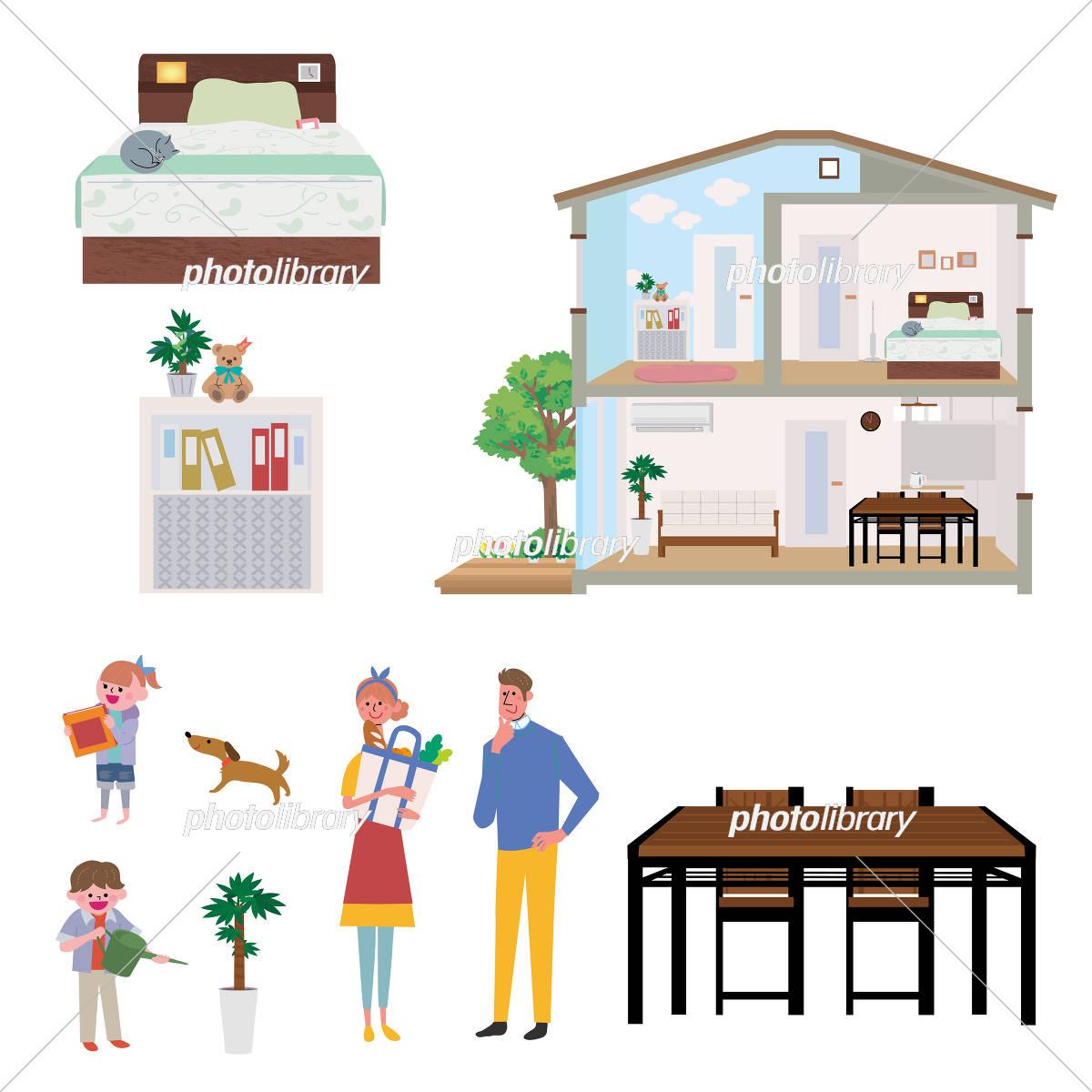 家 断面図 イラスト セット イラスト素材 5574773 フォトライブ