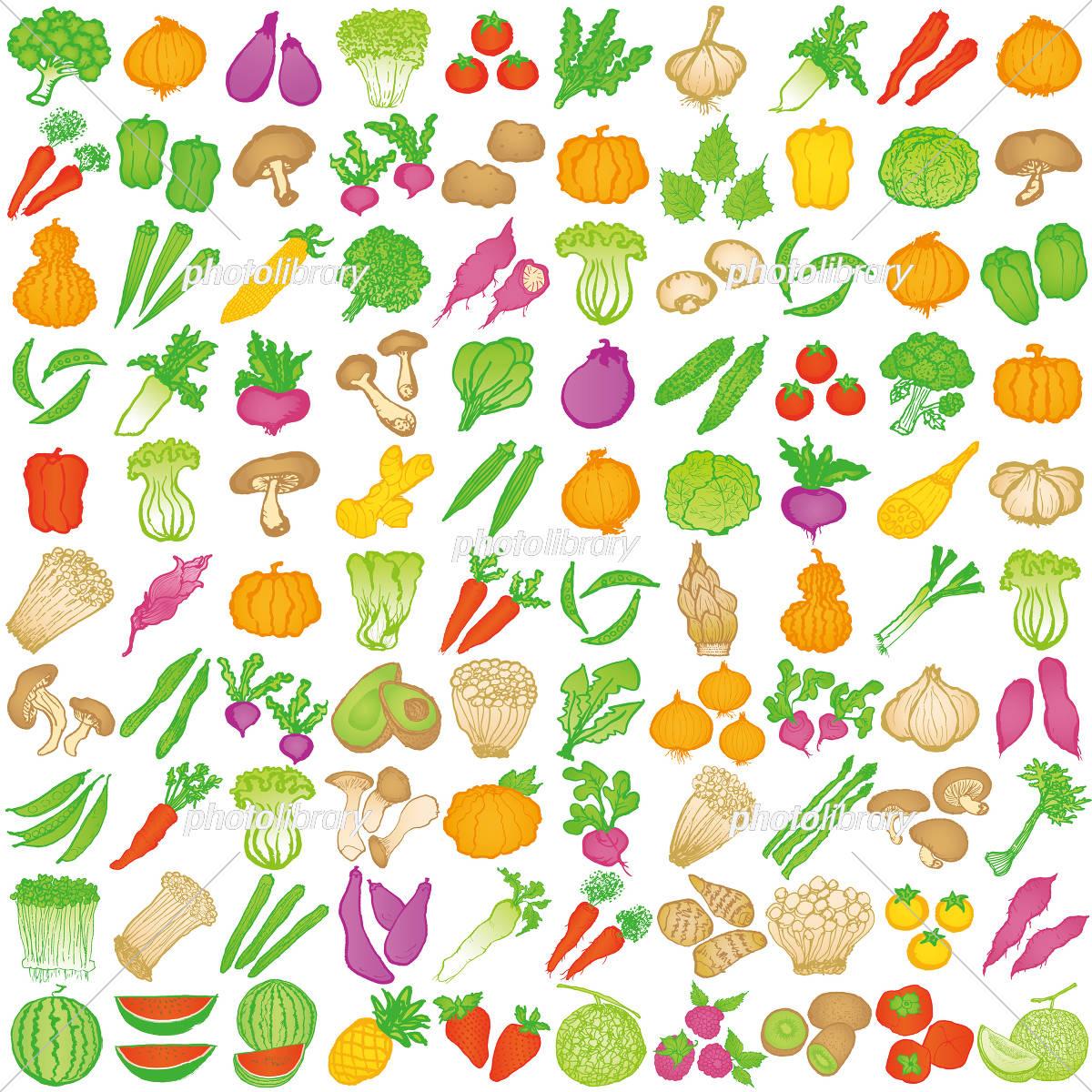 野菜 手書きアイコン 100種類 イラスト素材 5574884 フォトライブ