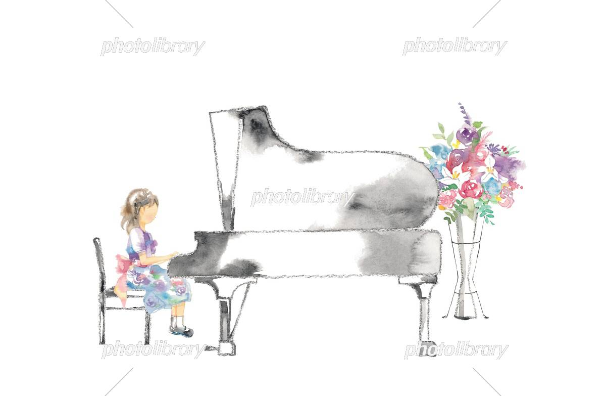 Piano recital, girls and flowers, pink イラスト素材
