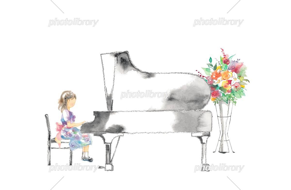 ピアノ発表会 女の子と花 赤 イラスト素材 5577596 フォトライブ