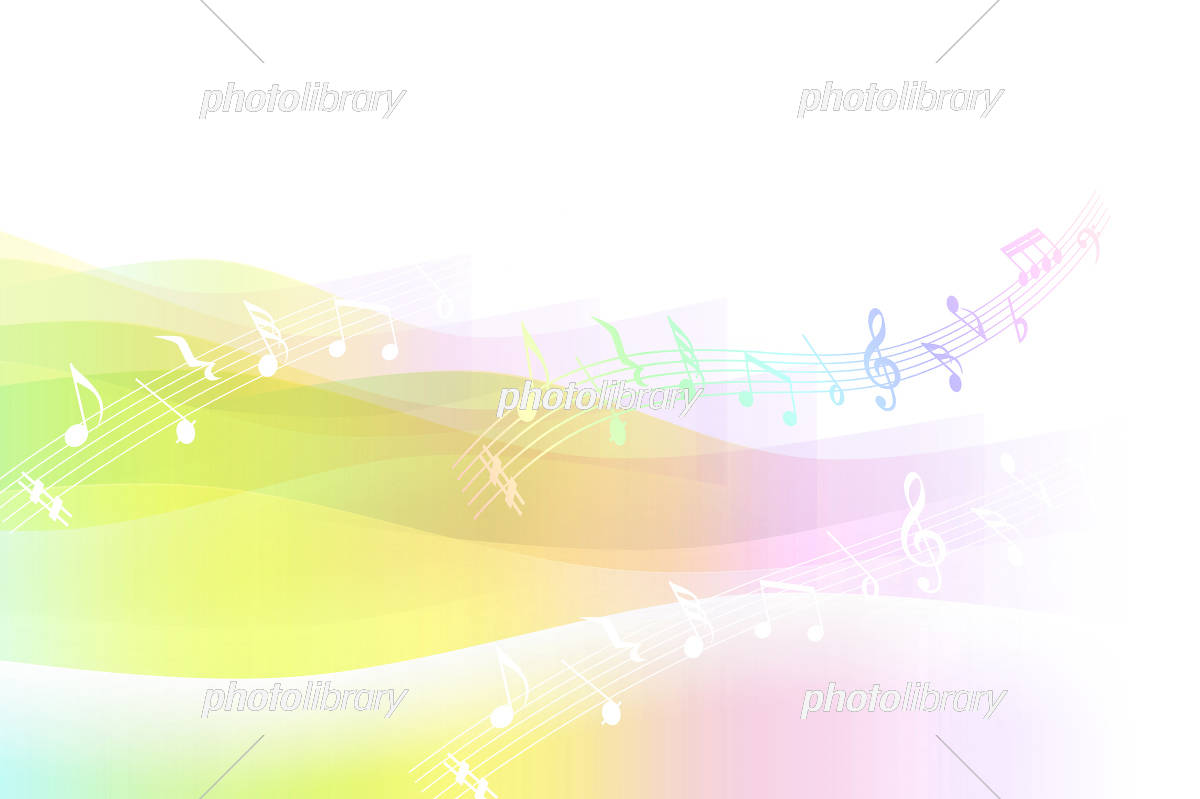 音符とパステルカラーの背景(透明感のあるレインボーカラー) イラスト