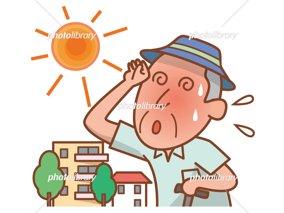 Senior men with heatstroke イラスト素材