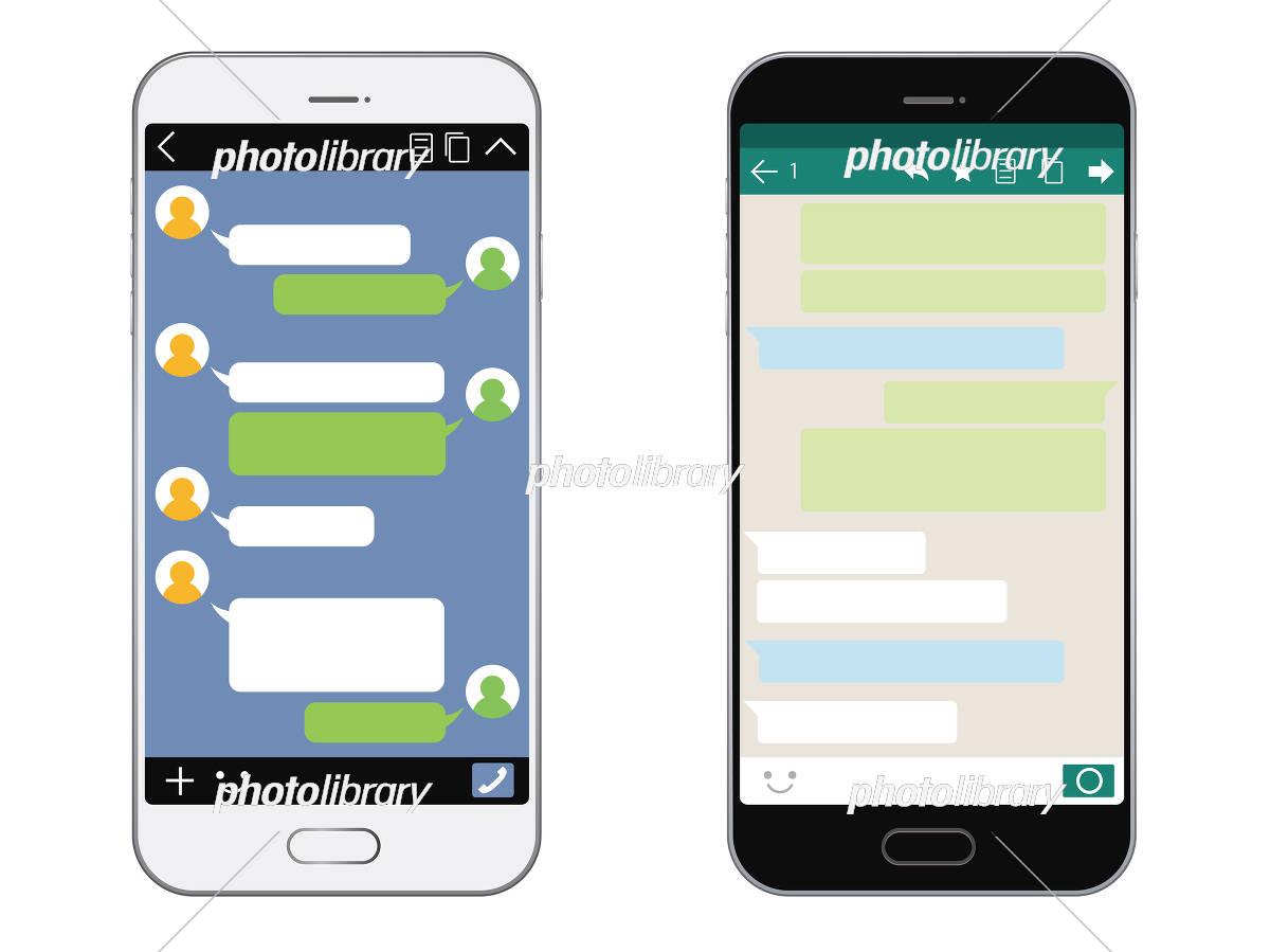 スマートフォン Sns画面セット イラスト素材 5578496 フォトライブ