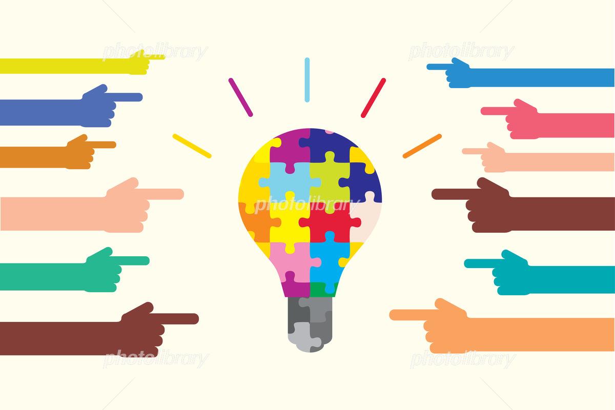 多様性とアイディアを表すカラフルな電球と手 Diversity and creativity shown by puzzle bulbのイラスト