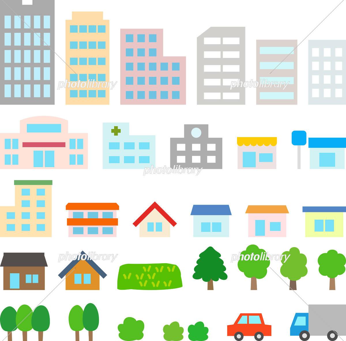 都市 街の建物のアイコンセット イラスト素材 5614691 フォト