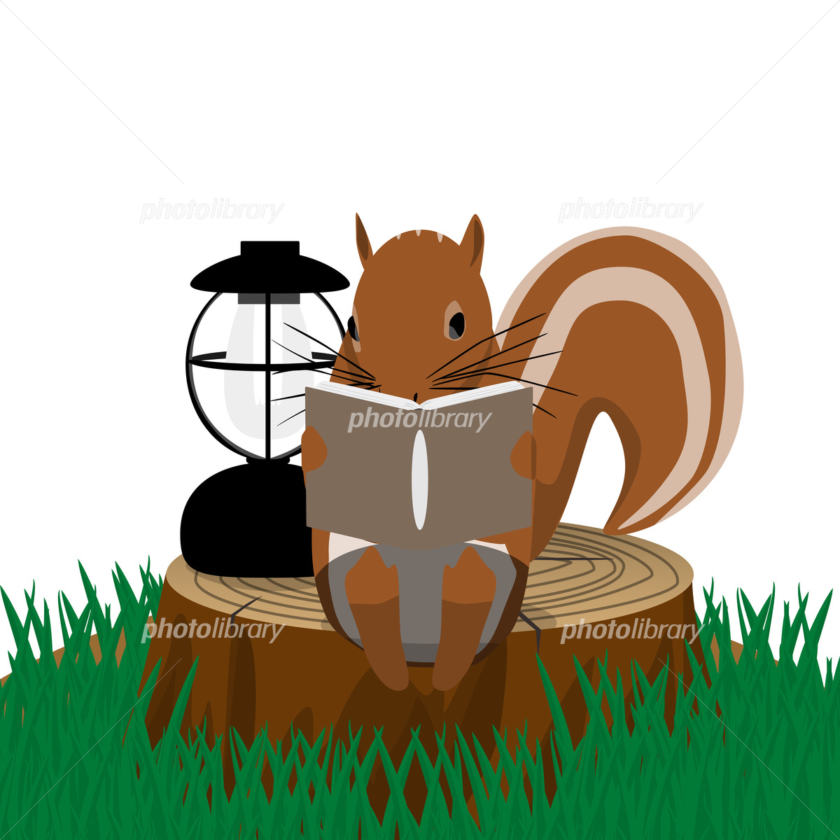 切り株に座って本を読むリス イラスト素材 [ 5615919 ] 無料素材- フォト