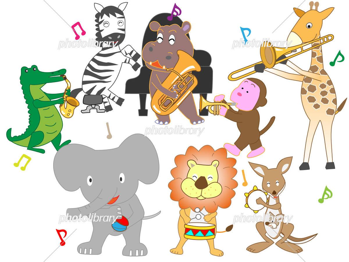 動物たちのコンサート 動物たちが楽器を演奏したり歌を歌ったりしている
