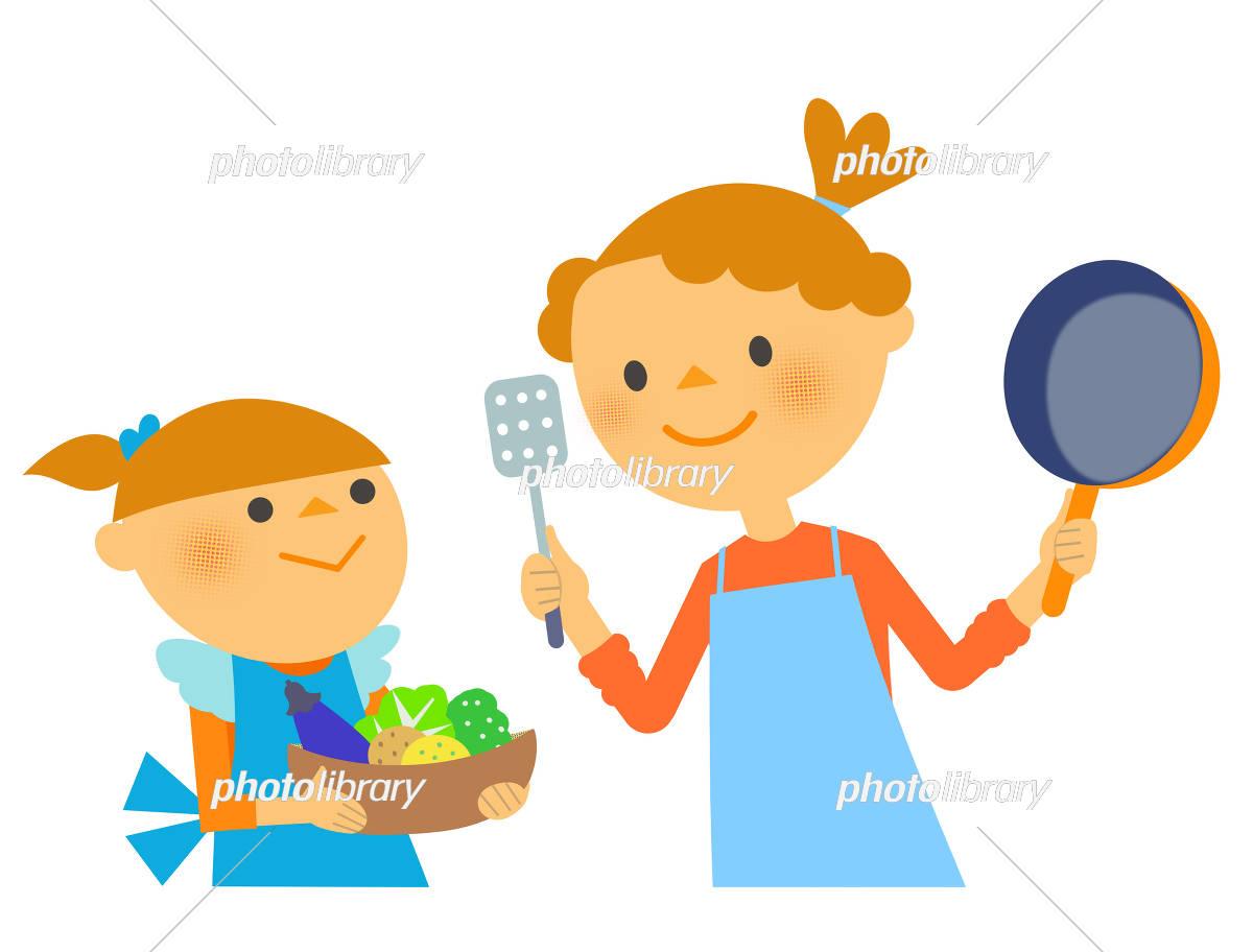 親子で料理 イラスト素材 5684587 フォトライブラリー Photolibrary