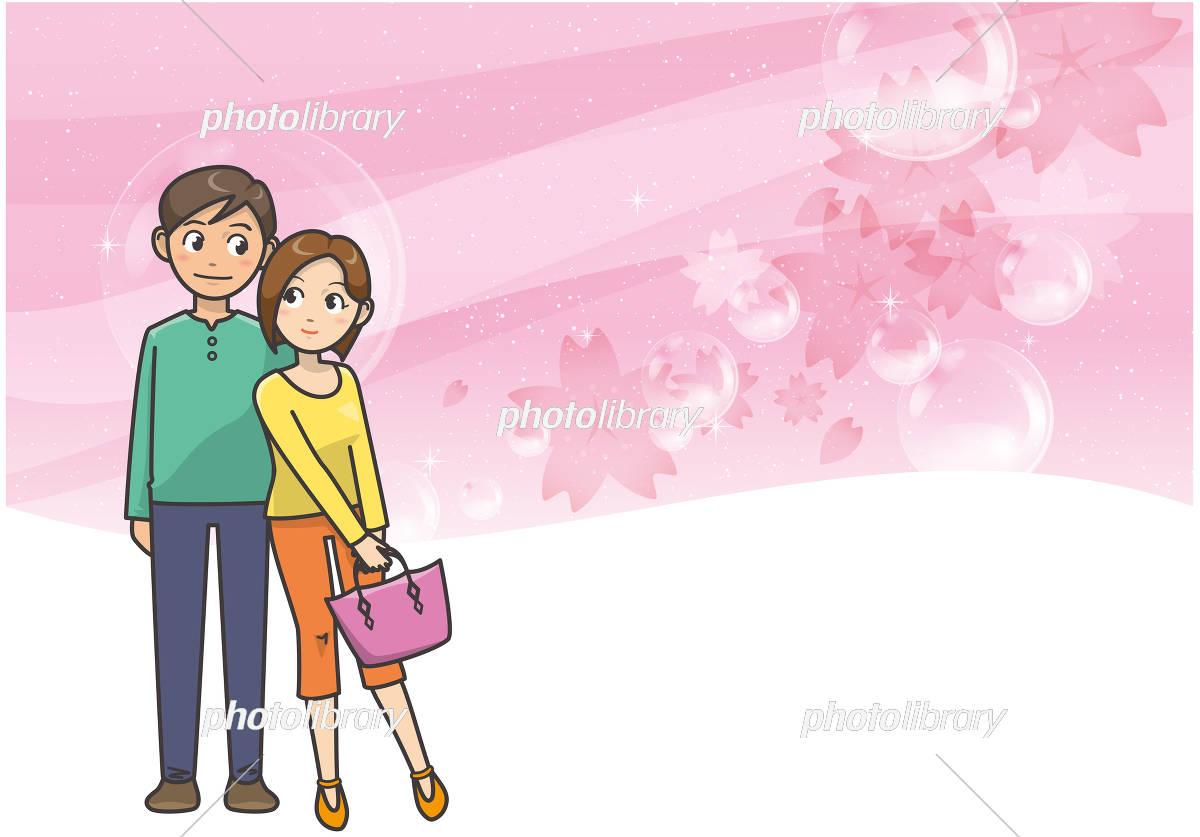 カップルと桜のイメージイラスト イラスト素材 [ 5687972 ] - フォト