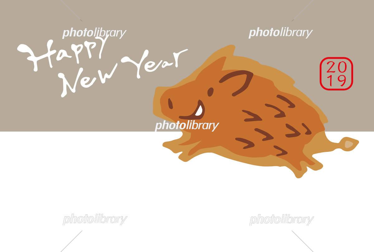 2019いの年賀 おしゃれ イラスト素材 [ 5741213 ] - フォトライブラリー
