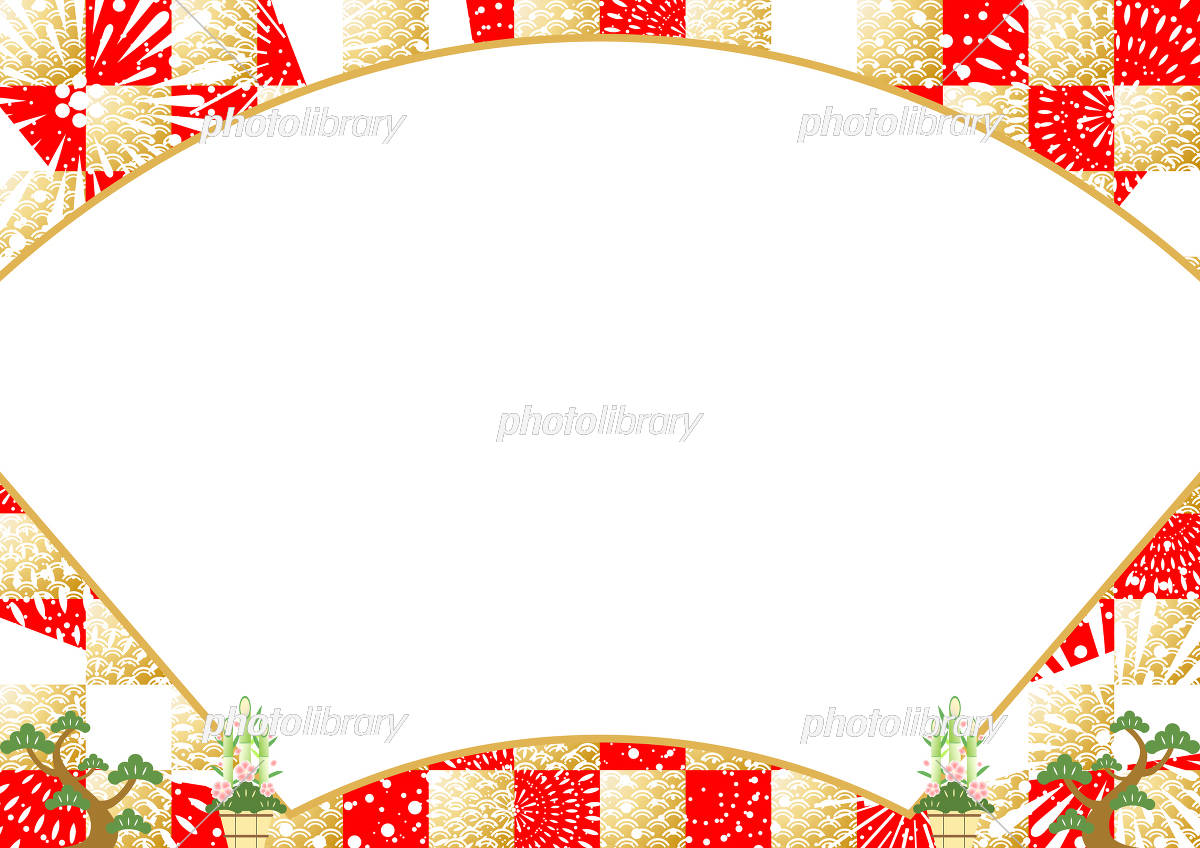 正月 扇 市松背景 イラスト素材 [ 5803275 ] - フォトライブラリー