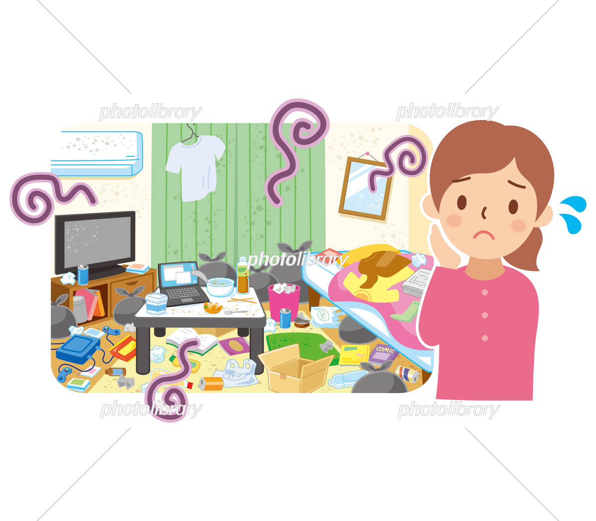 汚れた部屋と困る女性 イラスト素材 5844242 フォトライブラリー