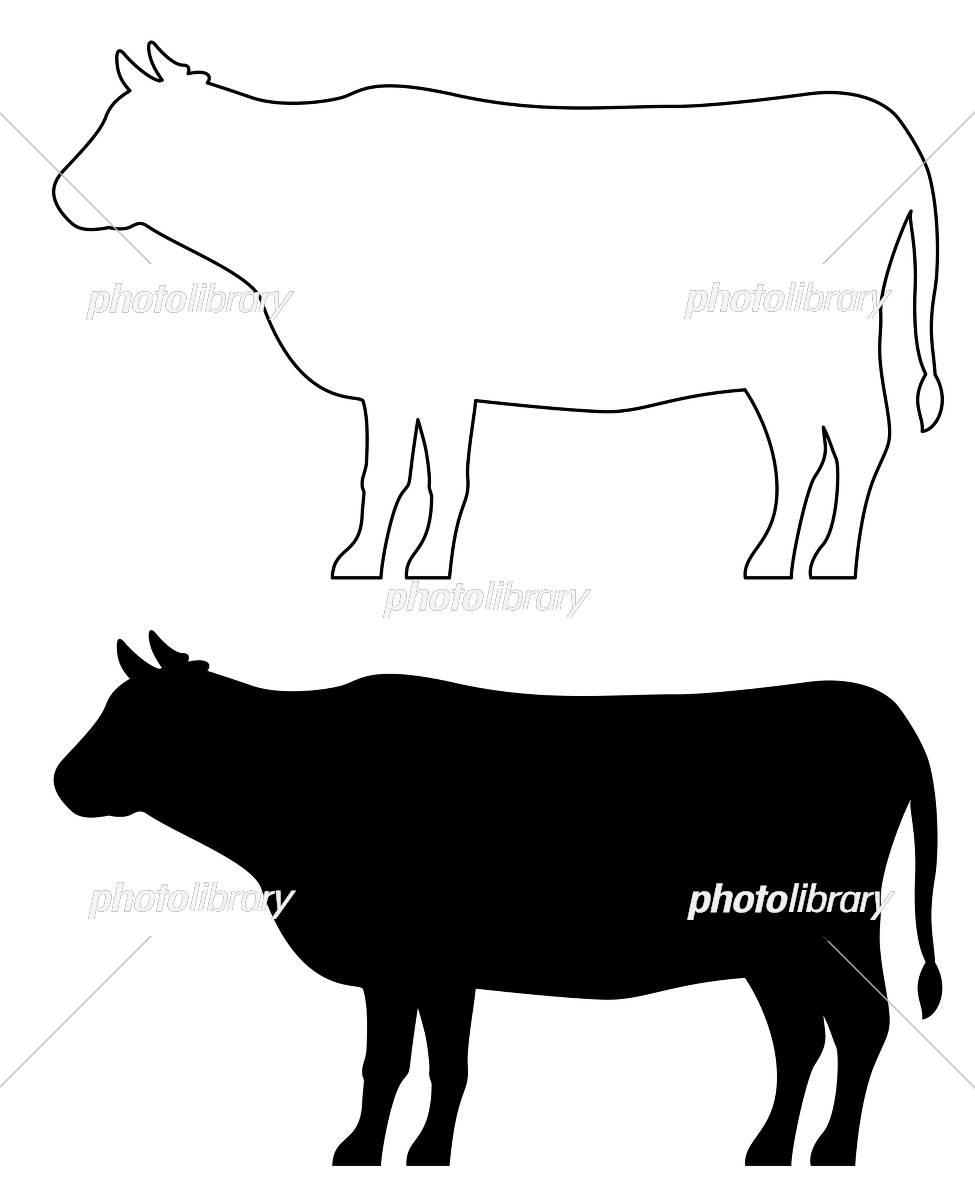 牛のシルエット イラスト素材 [ 5869437 ] , フォトライブラリー