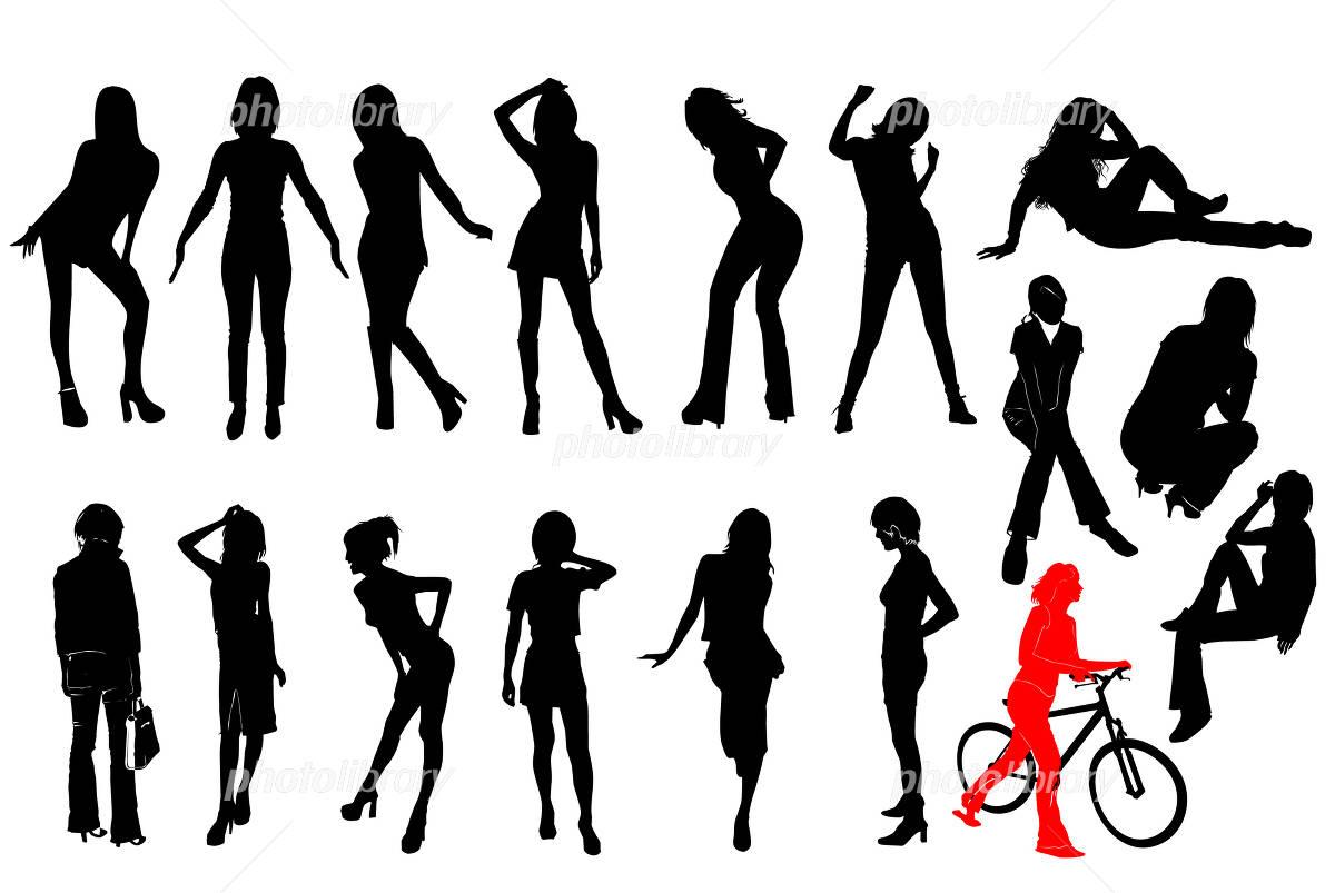 シルエット イラスト 女性 17人ぶん イラスト素材 222442 無料