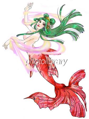 和風の人魚の白背景 イラスト素材 223602 フォトライブラリー