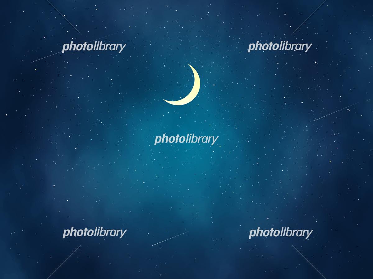 三日月と綺麗な夜空の風景イラスト イラスト素材 フォトライブラリー Photolibrary