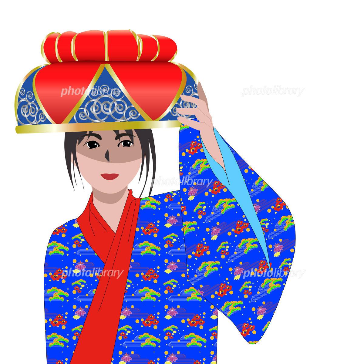 沖縄民族衣装を着た女性 イラスト素材 433384 無料 フォトライブ