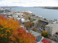 """Canada Quebec City """"autumn leaves and luxury liner of the St. Lawrence River."""" Stock photo [477526] North"""