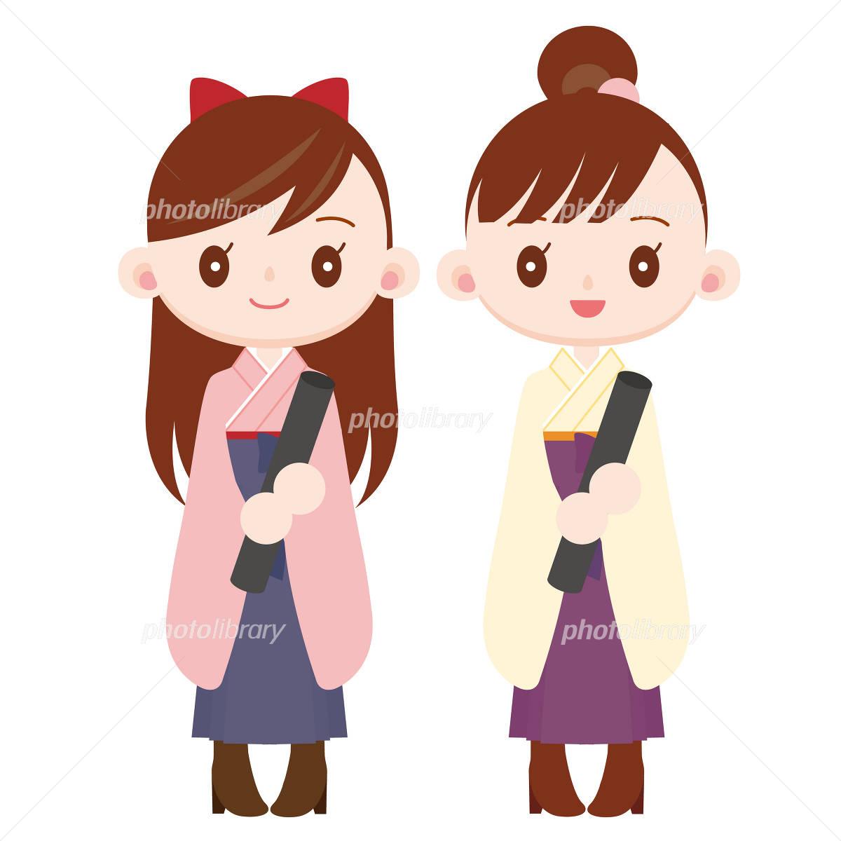 袴を着た卒業式の女の子2人 イラスト素材 725535 フォトライブ
