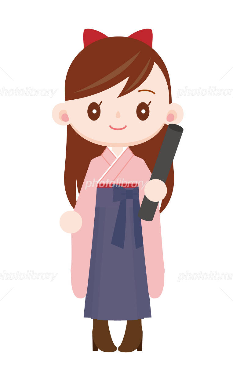 袴を着た卒業式の女の子 桃色着物 紺色袴 イラスト素材 725629