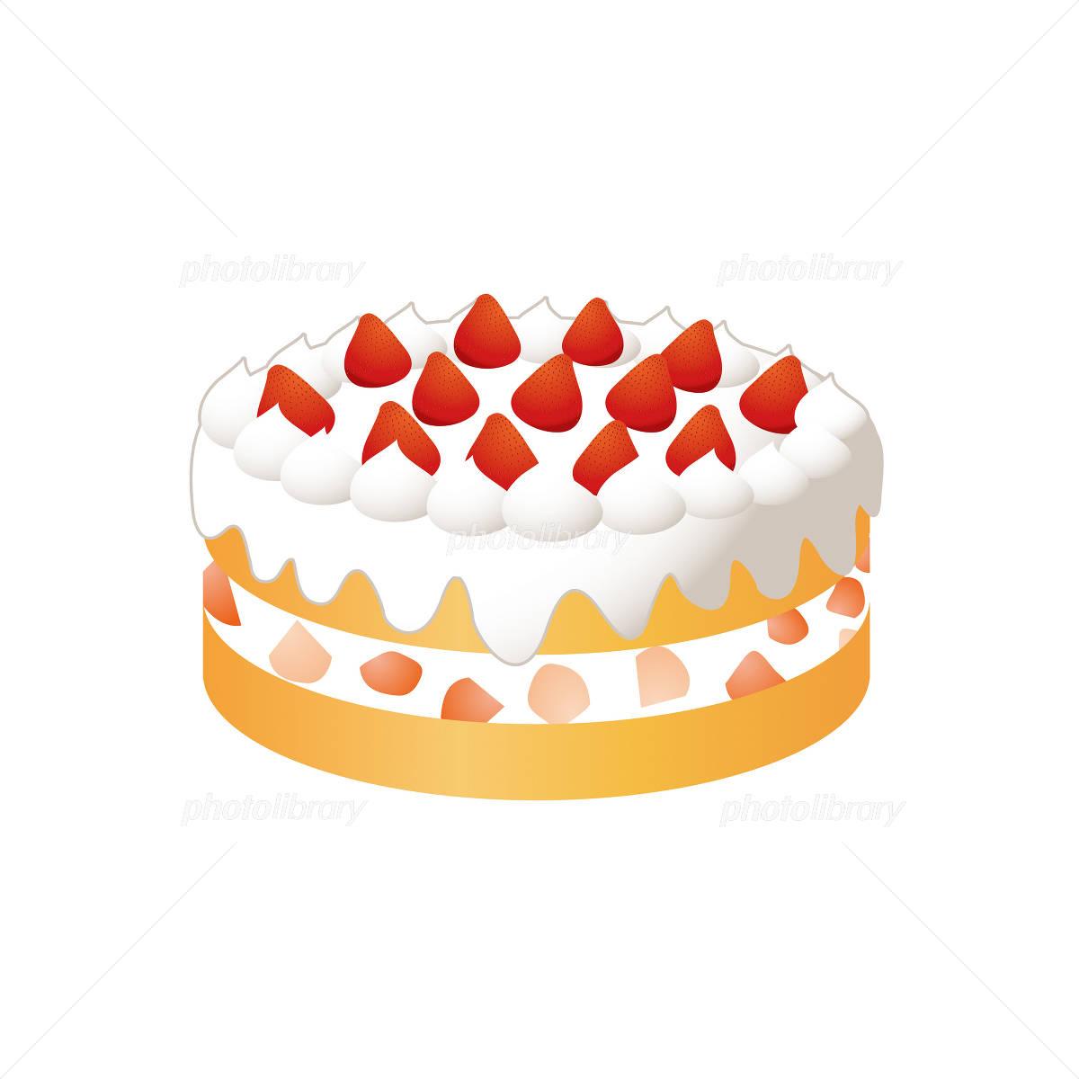苺のデコレーションケーキのイラスト