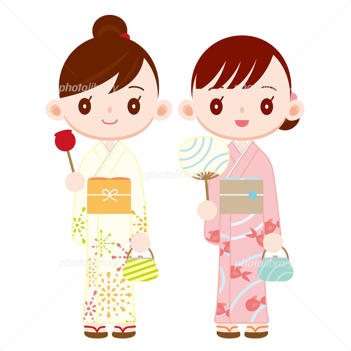 浴衣を着た女の子二人 夏祭り イラスト素材 968972 フォトライブ