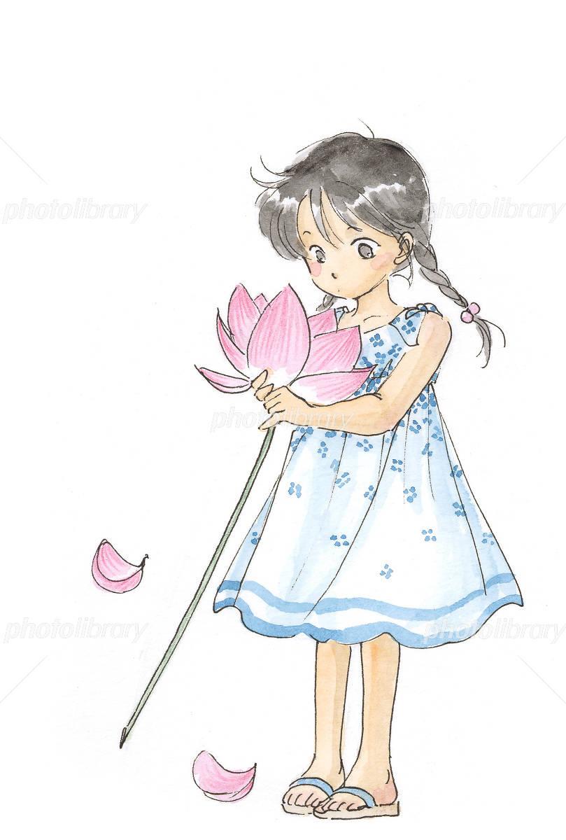 蓮の花と女の子 イラスト素材 1286799 フォトライブラリー