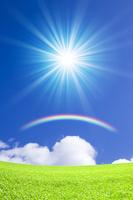 Grassland and blue sky and rainbow Stock photo [1279461] Prairie