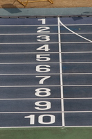 Goal line of blue running track Stock photo [1281054] Athletics