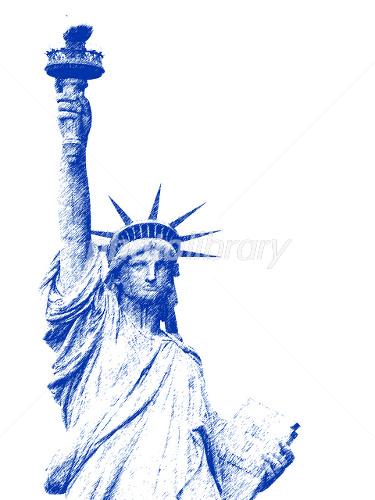 自由の女神 濃紺のスケッチ イラスト素材 1461998 フォトライブ