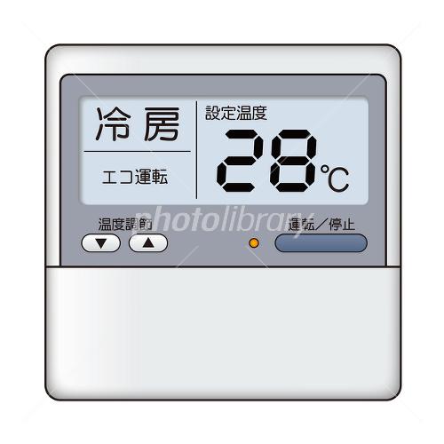 28度に設定されたエアコンのリモコン イラスト素材 [ 1463752 ...