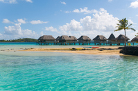 Tahitian sea and cottages Stock photo [1466139] Tahiti