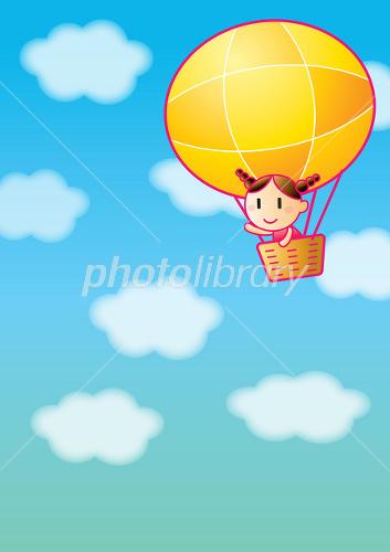 気球 女の子 空 タテ イラスト素材 1556714 無料 フォトライブ