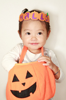 Girl Haunted pumpkin and 2-year-old Stock photo [1559324] Children
