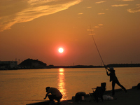 Sunset and anglers Stock photo [1559339] Sunset