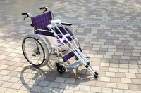 Wheelchair and crutches Stock photo [1561323] Wheelchair