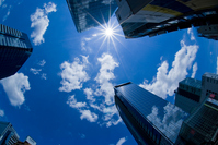 At blue sky and cityscape fisheye lens Stock photo [1562294] Blue