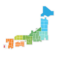 Illustrations of Japan map stock photo